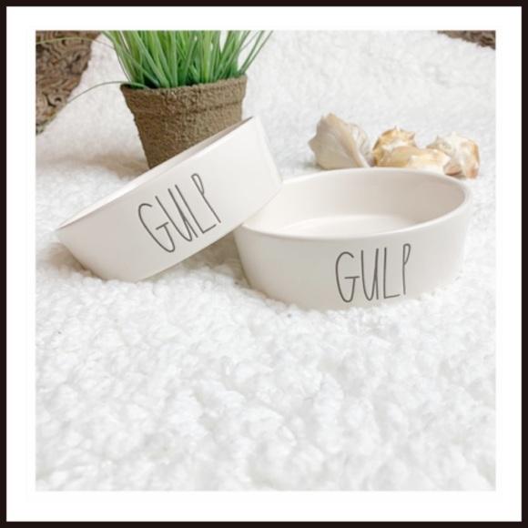 "NWOT Rae Dunn ""GULP"" Small Pet Ceramic Dish Ivory"